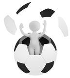 Person on football. 3d render: person on football Royalty Free Stock Photo