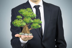 A person in formal suit holds a sketched tree on the palm. Light grey background. Royalty Free Stock Images