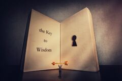Free Person Found The Magic Golden Key To Wisdom, Stands Near The Giant Book With A Keyhole Inside Pages. Open The Lock To Knowledge, Stock Photo - 172574980