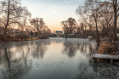 Person on the frozen river Royalty Free Stock Photography