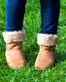 Person in fur lined boots Royalty Free Stock Photography