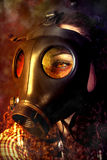Person in a gas mask. Looking for accident Royalty Free Stock Photography