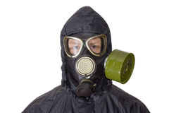 Person in a gas mask on a light background Stock Photography