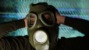 Person with gas mask war technology stock video footage