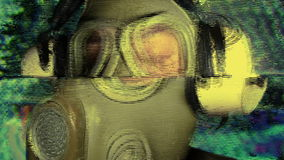 Person with gas mask war technology. A person wearing a gas mask. this clip could be useful for a number of themes from technology, warfare apocalyptic through