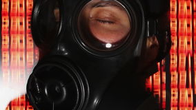 Person with gas mask war technology stock footage