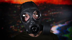 Person with gas mask war technology stock video