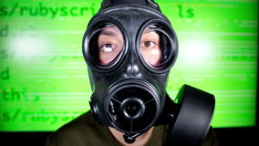 Person with gas mask war technology Royalty Free Stock Image