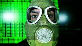 Person with gas mask war technology Royalty Free Stock Images