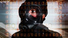 Person with gas mask war technology Stock Photo