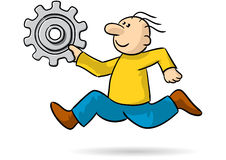 Person with gear. Illustration of a person running very quickly Royalty Free Stock Images