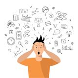 Person get too much information. Information and data overload concept. Digital information overload. Flat and line design styles vector illustration