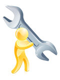 Person with giant wrench Royalty Free Stock Photo