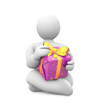 Person with gift box. Stock Photo