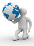 Person give a globe. 3D image. Isolated illustrations Royalty Free Stock Images