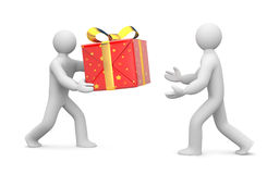 Person gives or delivers a gift Royalty Free Stock Photo