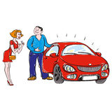 Person gives or sells the car. Person gives or sells a car a woman who delighted Stock Image