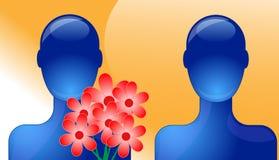 Person giving flower stock illustration
