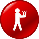 Person giving a gift or present vector red button Royalty Free Stock Photos