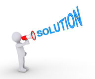 Person giving solution through megaphone. 3d person is shouting SOLUTION through a megaphone Stock Photography