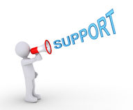 Person giving support through megaphone. 3d person is shouting SUPPORT through a megaphone Royalty Free Stock Images