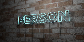PERSON - Glowing Neon Sign on stonework wall - 3D rendered royalty free stock illustration Stock Image