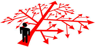 Person go on complicated decision path Stock Images