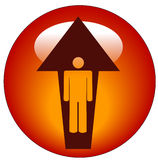Person going up button. Stick figure inside upward directional arrow button or icon Stock Photography
