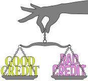 Person Good Bad Credit riporta in scala la scelta Fotografia Stock Libera da Diritti
