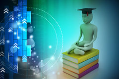 Person with graduation and books Stock Images