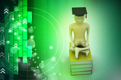 Person with graduation and books Royalty Free Stock Photos