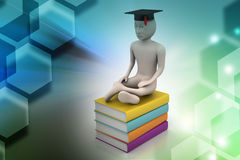 Person with graduation and books Royalty Free Stock Image
