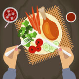 Person with Grilled chicken. Person is eating Grilled chicken and glass of cola on wooden table. Top view Vector illustration eps 10 Royalty Free Stock Image