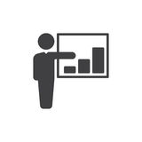 Person and growing chart icon vector, filled flat sign, solid pictogram isolated on white. Business presentation symbol, logo illu Stock Photo