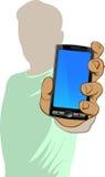 Person hält Handy an Stockfotos