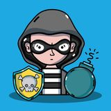 Person hacker to programmer virus in the system. Vector illustration Royalty Free Stock Photo