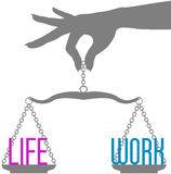 Person hand balance Life Work on scales Stock Photos