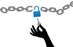 Person hand free unlock chain lock key Stock Photo
