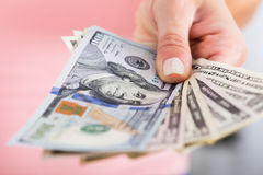 Person Hand Showing Dollar Currency stock images