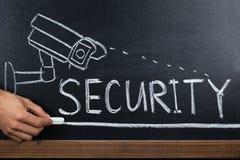 Person Hand Showing Security Concept på svart tavla arkivbilder