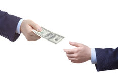 Person handing over money Royalty Free Stock Photo