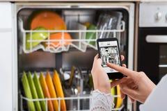 Person Hands Operating Dishwasher Fotografia de Stock