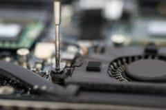 Person Hands Repairing Laptop Motherboard Fotografia de Stock