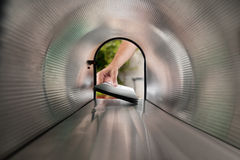Person Hands Taking Letters View From Inside The Mailbox Royalty Free Stock Photo