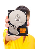 Person with Hard Drive Stock Photo