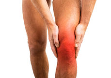 Person having a knee pain. Person having a knee problem Stock Photo