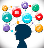 Person head full of science icons Stock Photo