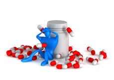 Person with headache, pills and bottle Royalty Free Stock Photography