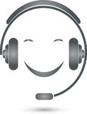 Person with headset, operator and support logo. Person with headset, colored, operator and support logo Stock Images