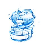 Person is Heated by Hot Drink. Set. Character Heart in Various Life Situations. Graphic illustration in Pencil Drawing. metaphor Royalty Free Stock Photography